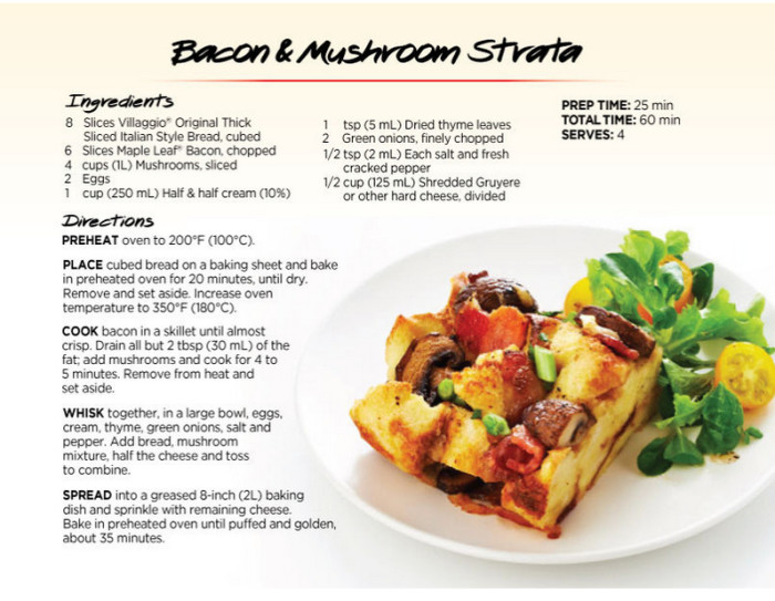 bacon and mushroom strata