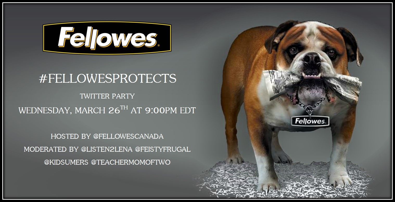 **TIME CHANGE** #FellowesProtects Twitter Party March 26th 8pm EDT