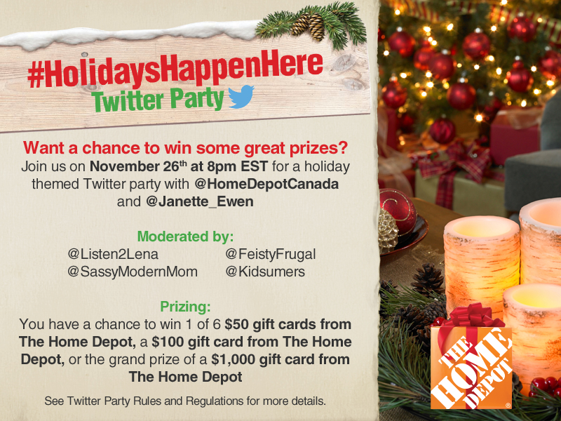 Join the #HolidaysHappenHere Twitter Party Nov. 26th at 8pm EST