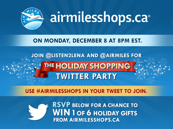 Join the #AirMilesShops Twitter Party Dec. 8th 8pm EST