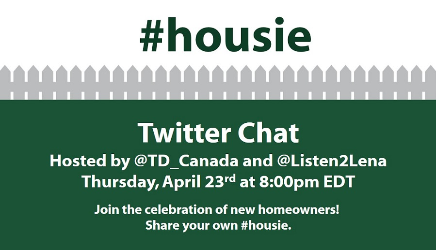 Join the #housie twitter chat on Thursday, April 23rd at 8pm EDT