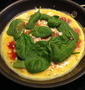 cooking omelette