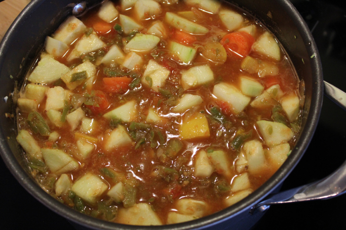 My soup base has simmered and is cooling before being placed in freezer bags.
